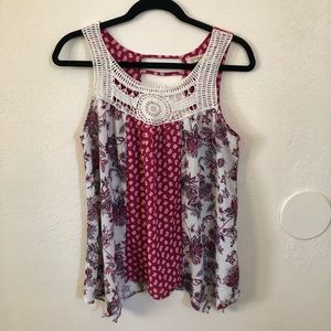 Rewind Pink Boho Patterned Tank Blouse